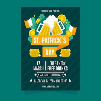 Panfleto de dia de são patrício com cervejas e bandeira