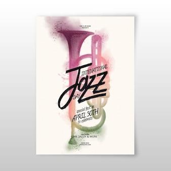 Panfleto de dia internacional de jazz em aquarela