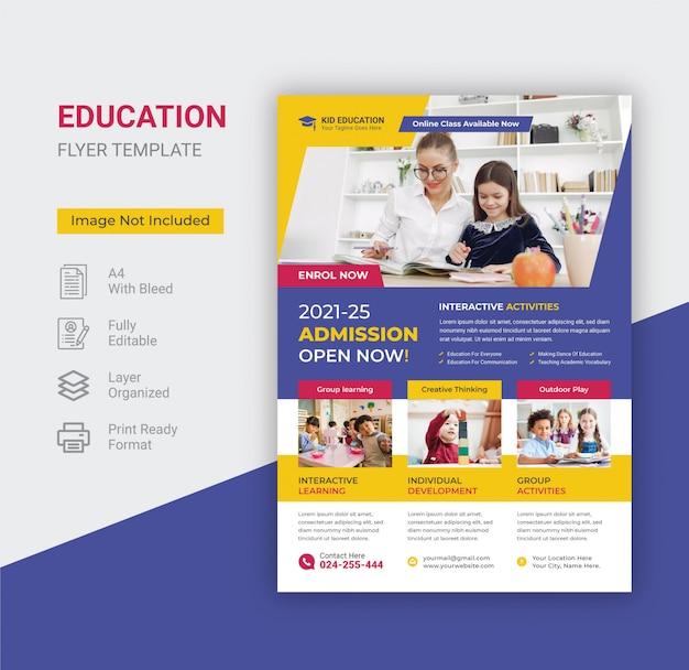 Panfleto de educação escolar crianças.