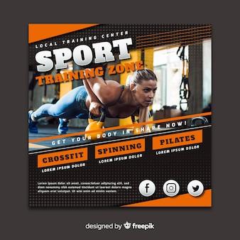 Panfleto de esporte com foto