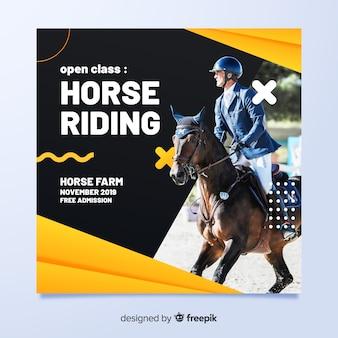 Panfleto de esporte com jóquei no cavalo
