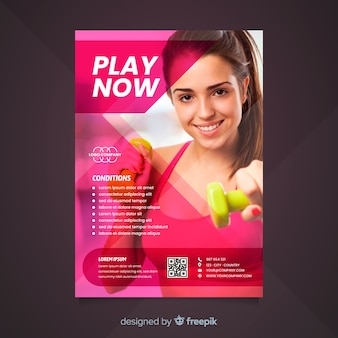 Panfleto de esporte com modelo de foto