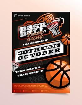 Panfleto de esporte de basquete