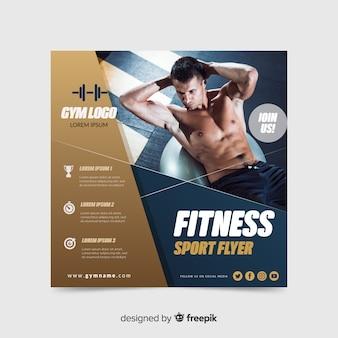 Panfleto de esporte fitness com foto