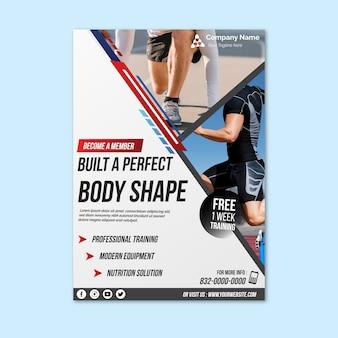Panfleto de esporte modelo com foto