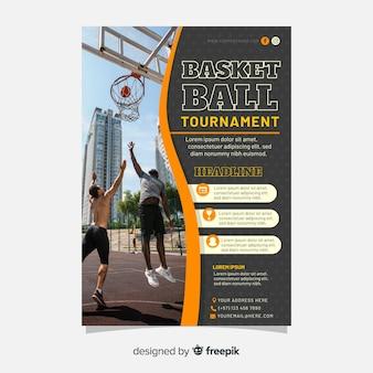 Panfleto de esporte modelo com imagem