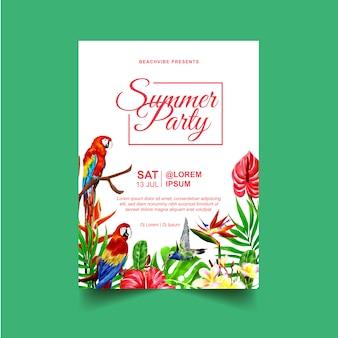 Panfleto de evento de festa de verão ou modelo de cartaz com plantas tropicais e aves
