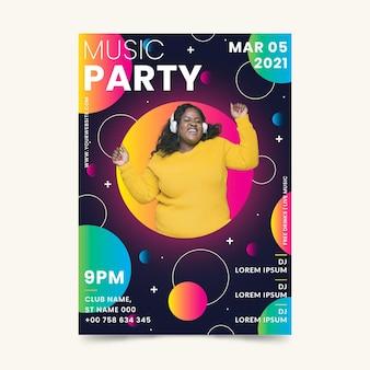 Panfleto de evento de música 2021 em estilo memphis
