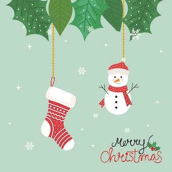Panfleto de feliz natal com boneco de neve e meia pendurado