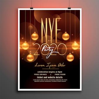 Panfleto de festa atraente ano novo no tema dourado