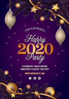 Panfleto de festa azul ano novo com decoração dourada