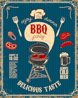 Panfleto de festa churrasco vintage em fundo grunge. grelhe com utensílios de cozinha, bifes, salsicha.