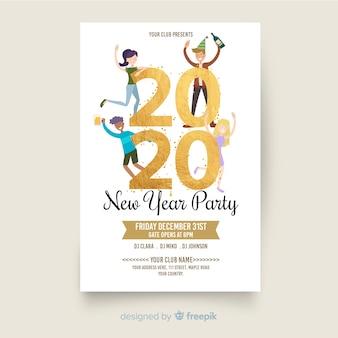 Panfleto de festa de ano novo 2020 em design plano