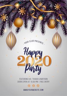 Panfleto de festa de ano novo com decoração dourada