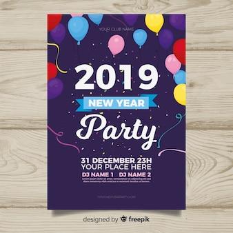 Panfleto de festa de ano novo de 2019