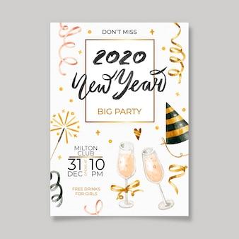 Panfleto de festa de ano novo em aquarela de modelo