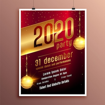 Panfleto de festa de ano novo ou modelo de cartaz