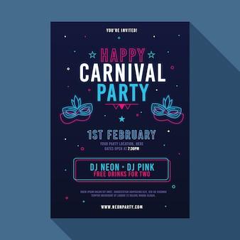 Panfleto de festa de carnaval de néon