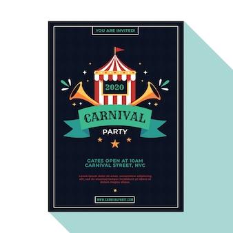 Panfleto de festa de carnaval em design plano