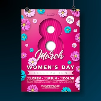Panfleto de festa de dia das mulheres com flores em fundo rosa