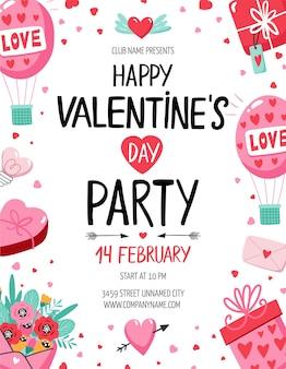 Panfleto de festa de dia dos namorados com balões, corações e outros elementos. ilustração vetorial