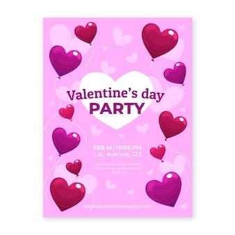 Panfleto de festa de dia dos namorados com balões em forma de coração