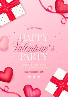 Panfleto de festa de dia dos namorados com presentes e corações