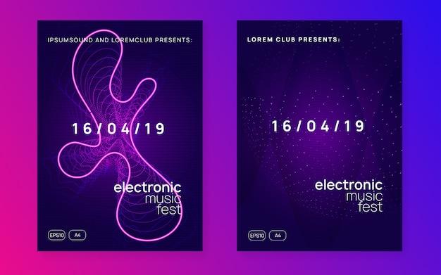 Panfleto de festa de dj de néon. electro dance music. techno trance. electro