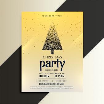 Panfleto de festa de festa de natal com design de árvore de partícula
