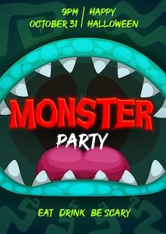 Panfleto de festa de halloween com boca de monstro