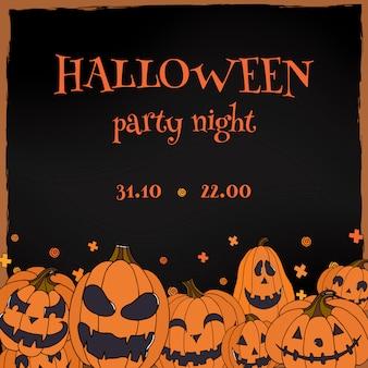 Panfleto de festa de halloween com jack o lanternas
