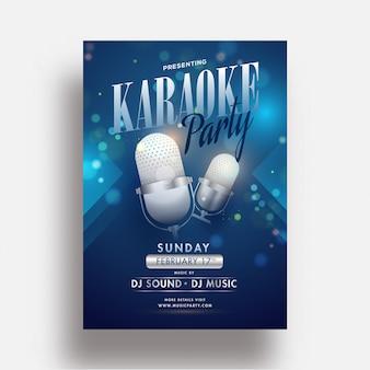Panfleto de festa de karaoke ou modelo de design com microfone realista