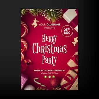 Panfleto de festa de natal com foto