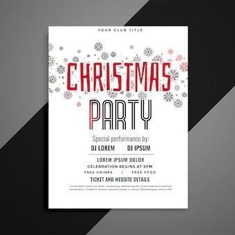 Panfleto de festa de natal elegante com padrão de flocos de neve