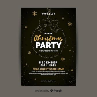 Panfleto de festa de natal em design plano