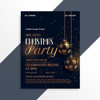 Panfleto de festa de Natal escuro luxo no tema ouro