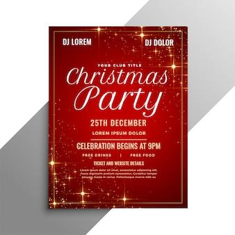 Panfleto de festa de natal vermelho com brilhos