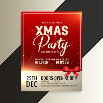 Panfleto de festa de natal vermelho com fita brilhante