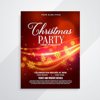 Panfleto de festa de natal vermelho lindo com raia de luz