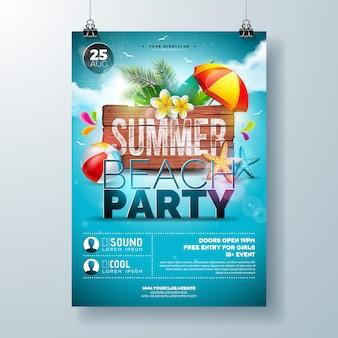 Panfleto de festa de praia de verão ou modelo de cartaz design com flor e folhas de palmeira