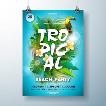 Panfleto de festa de praia de verão tropical com flor e pássaro tucano