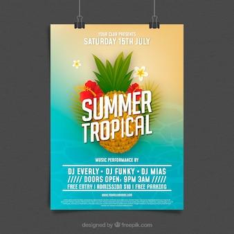 Panfleto de festa de verão com abacaxi