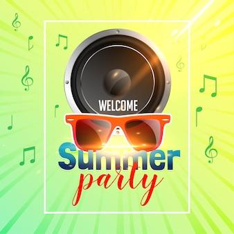 Panfleto de festa de verão com alto-falante