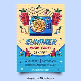 Panfleto de festa de verão com elementos tropicais