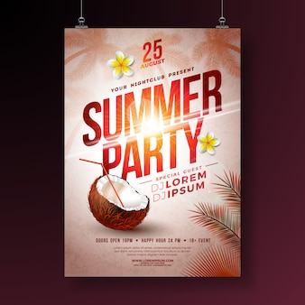 Panfleto de festa de verão com flor e coco