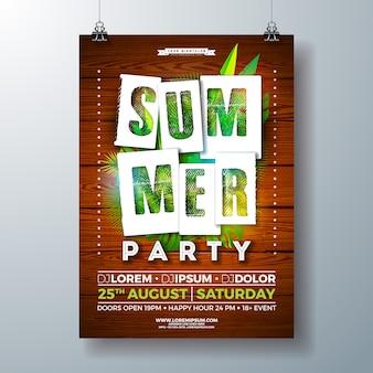 Panfleto de festa de verão com folhas de palmeira tropical e carta de tipografia de corte de papel