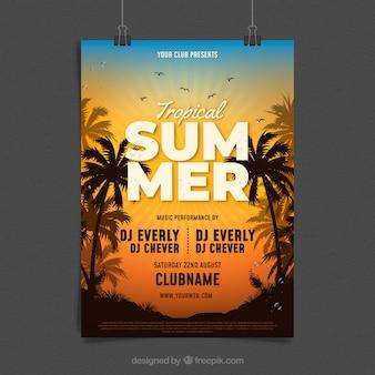 Panfleto de festa de verão com palmas