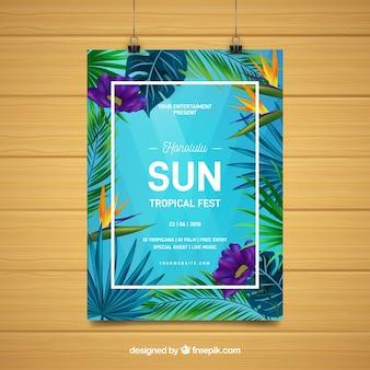 Panfleto de festa de verão com plantas tropicais