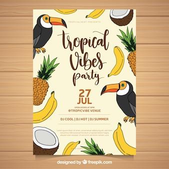 Panfleto de festa de verão com tucanos e frutas