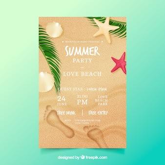 Panfleto de festa de verão em estilo realista